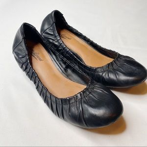 Lucky Brand Fibii Demi Black Leather Wedges Size 7